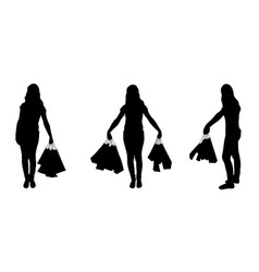 Set of different women with bags isolated on white vector