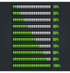 Green progress bar set 10-100 vector