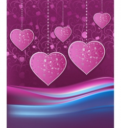 violet background with hearts vector image