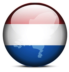 Map on flag button of kingdom of the netherlands vector