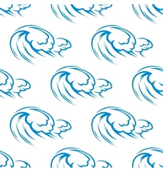 Blue ocean waves seamless pattern vector