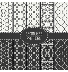 Set of geometric monochrome lattice seamless vector