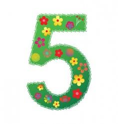 floral number 5 vector image