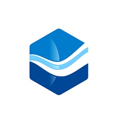 Polygon wave water logo vector