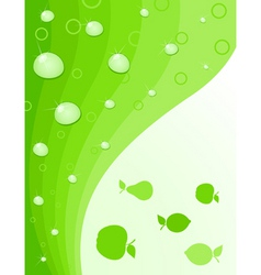 fruit green background with water drops a vector i vector image
