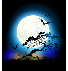 Silhouette of tree and moon vector