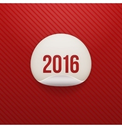 Realistic new year white circle sticker 2016 text vector