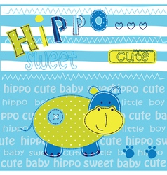 Cute baby background with hippo vector