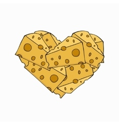 Modern cheese in a heart on white vector