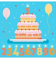 Happy birthday cake with numbers candles vector
