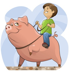 Pig and boy vector