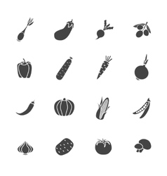 Vegetables sillhouette isolated icon flat set vector