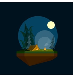 a cartoon tent in flat polygonal style and flying vector image vector image