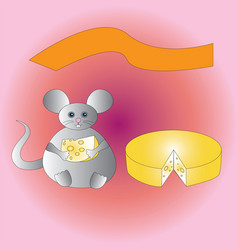 A happy fat mouse with a piece of cheese vector
