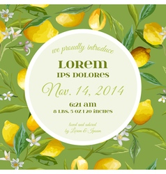 Baby arrival card with photo frame - lemon flowers vector