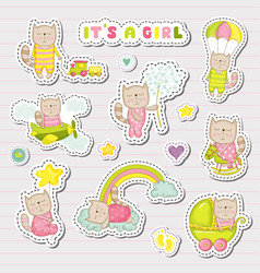 baby girl stickers patches for baby shower party vector image