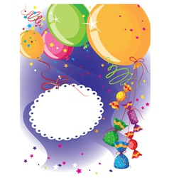 balloons and candy postcard vector image
