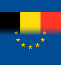 Belgium national flag with a circle of eu vector