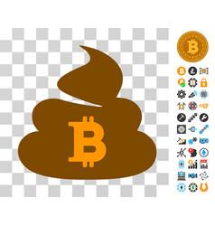 Bitcoin shit icon with bonus vector
