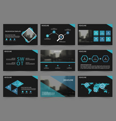 blue black abstract presentation templates vector image