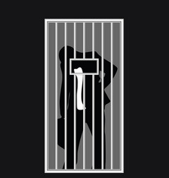 Businessman silhouette in jail vector