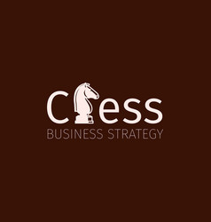 Chess business strategy logo with knight vector