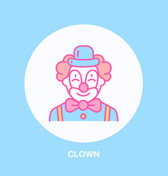 Cute smiling clown line icon logo for vector