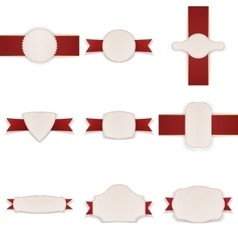 Empty festive Labels with Ribbons Set vector image