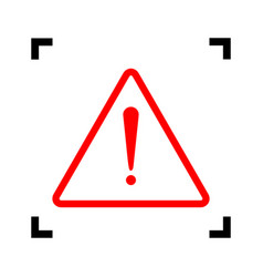 exclamation danger sign flat style red vector image vector image