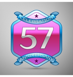 Fifty seven years anniversary celebration silver vector