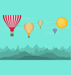 Flat design hot air balloon in the sky vector