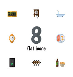 Flat icon oneday set of electric alarm fried egg vector