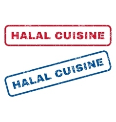 Halal cuisine rubber stamps vector