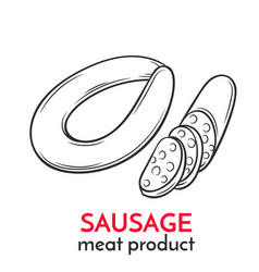 hand drawn sausage icon vector image