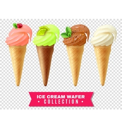 Ice cream wafer collection vector