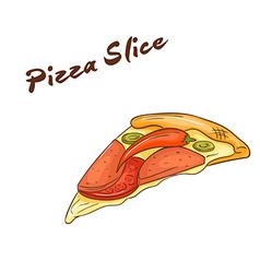 isolated cartoon hand drawn fast food Slice of vector image vector image