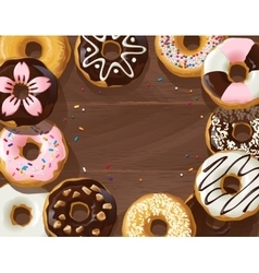 Mix of donuts on wooden background vector image vector image