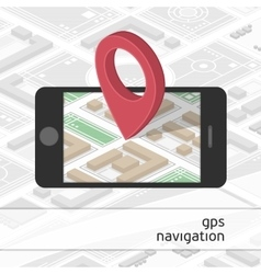 Mobile phone with GPS mark on the map vector image
