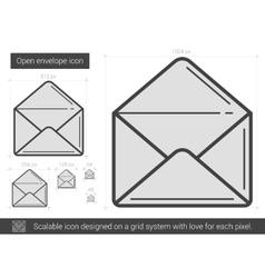 Open envelope line icon vector image vector image