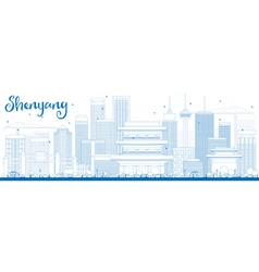 Outline shenyang skyline with blue buildings vector