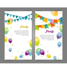 Party banners with flags and ballons vector image vector image