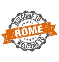 Rome round ribbon seal vector