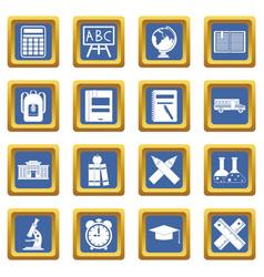 School icons set blue vector