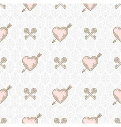 Seamless background with arrow pierced hearts vector