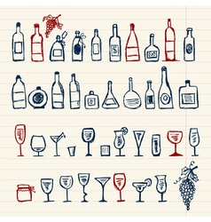 Sketch of alcohols bottles and wineglasses vector image vector image
