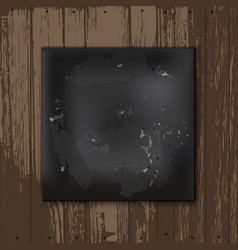 Square blackboard at white wooden backdrop vector