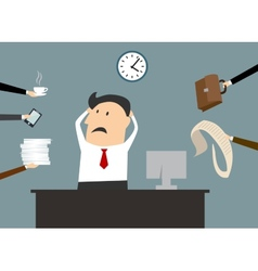 Stressed cartooned businessman vector image vector image