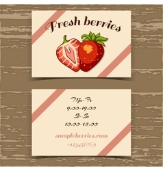 Template business card strawberry vector