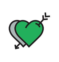 Two heart arrow icon green color vector
