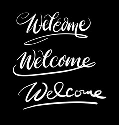 welcome hand written typography vector image vector image